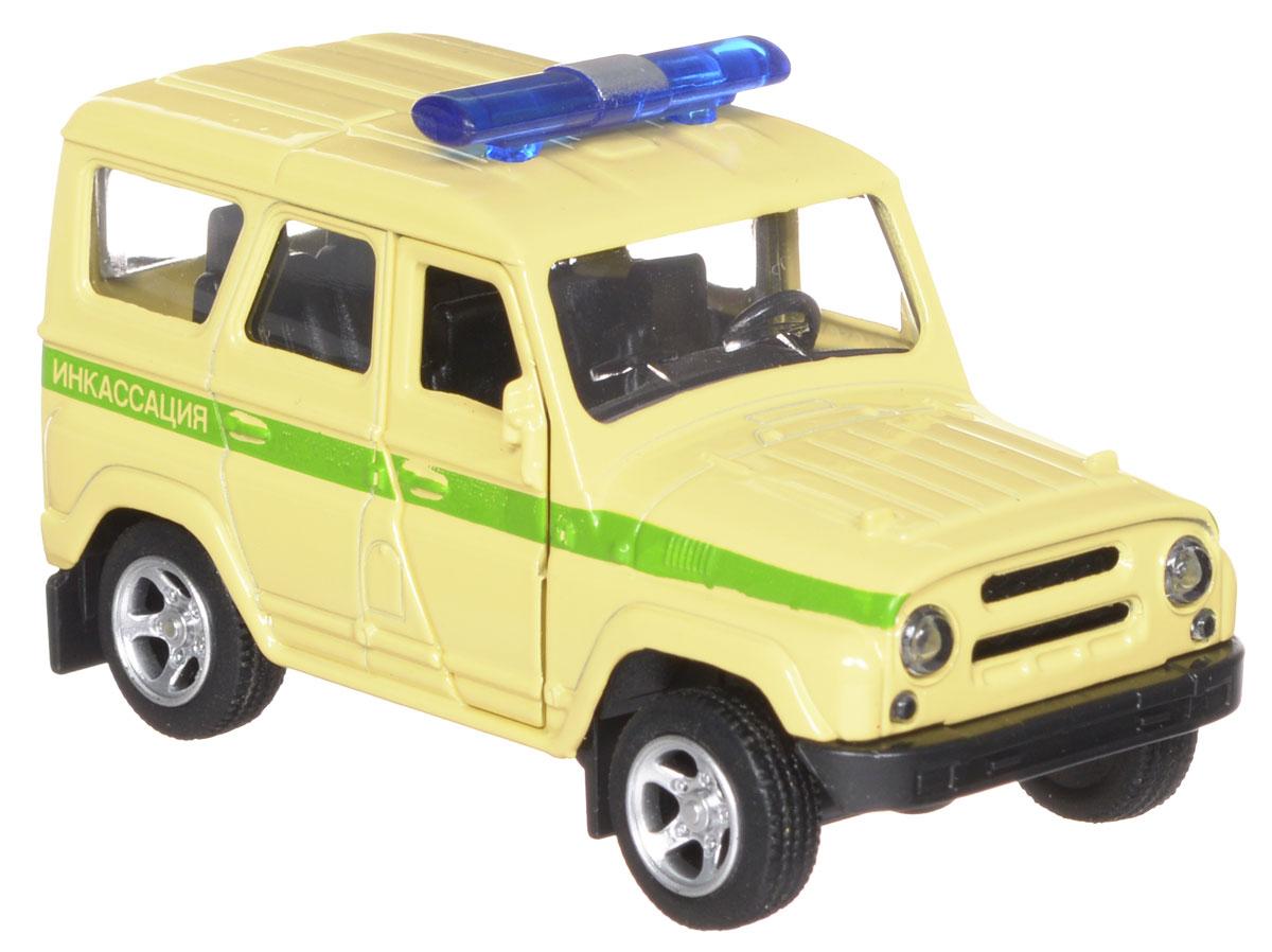 ТехноПарк Модель автомобиля УАЗ Hunter ИнкассацияX600-H09016-RМодель автомобиля ТехноПарк УАЗ Hunter: Инкассация, выполненная из металла, пластика и резины, станет любимой игрушкой вашего малыша. Игрушка представляет собой модель автомобиля инкассаторской службы УАЗ Hunter в масштабе 1:50. Передние дверцы модели открываются, а прорезиненные колеса обеспечивают надежное сцепление с любой поверхностью пола. Модель оснащена инерционным ходом: достаточно немного отвести ее назад, а затем отпустить - машинка быстро поедет вперед. Ваш ребенок будет часами играть с этой машинкой, придумывая различные истории. Порадуйте его таким замечательным подарком!