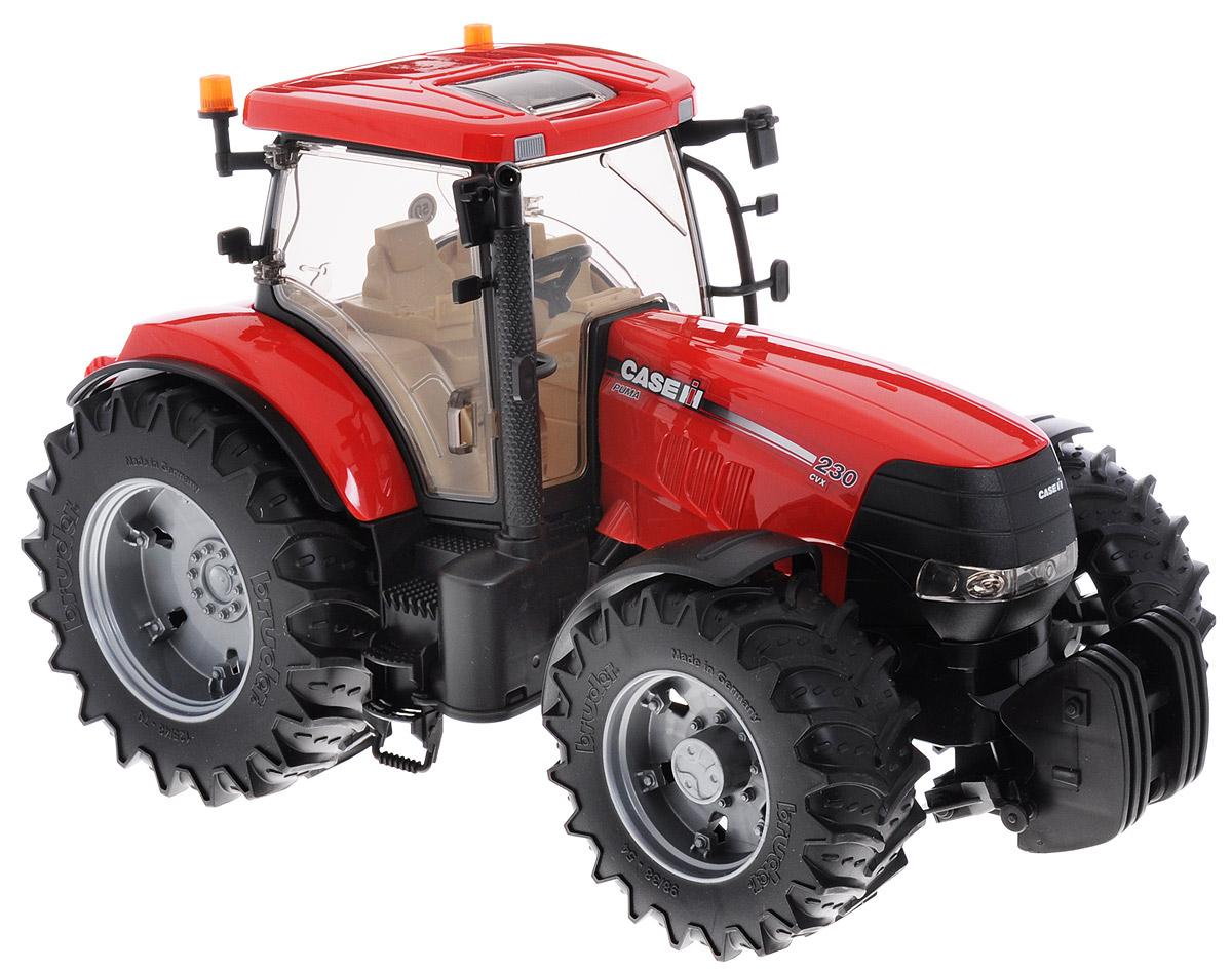 Bruder Трактор Case IH CVX 23003-095Трактор Bruder Case IH CVX 230 - это точная, уменьшенная копия оригинального трактора в масштабе 1:16. Высокая степень детализации делает игрушку реалистичной. Такая игрушка понравится детям разного возраста и привлечет внимание взрослых. Играя с трактором, у ребенка развивается пространственно-образное мышление, и повышаются технические знания. Кроме внешнего сходства, модель достаточно функциональна. Колеса трактора резиновые и достаточно мощные, таким трактором можно играть и дома и во дворе. В домашних условиях трактор не испортит и не поцарапает пол. При повороте руля колеса изменяют свое направление. Дверь в прозрачную кабину открывается. Внутри кабины расположены сиденье, руль, педали, панель приборов. Капот открывается и открывает вид на двигатель трактора. Изготовлена игрушка из качественного и безопасного пластика.