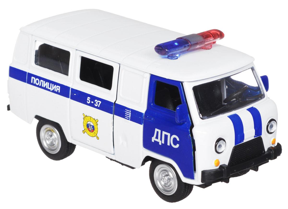 ТехноПарк Модель автомобиля УАЗ 39625 ПолицияX600-H09021-RМодель автомобиля ТехноПарк УАЗ 39625 Полиция, выполненная из металла, пластика и резины, станет любимой игрушкой вашего малыша. Игрушка представляет собой модель полицейского автомобиля УАЗ 39625 в масштабе 1:50. Передние и боковая дверцы модели открываются, а прорезиненные колеса обеспечивают надежное сцепление с любой поверхностью пола. Модель оснащена инерционным ходом: достаточно немного отвести ее назад, а затем отпустить - машинка быстро поедет вперед. Ваш ребенок будет часами играть с этой машинкой, придумывая различные истории. Порадуйте его таким замечательным подарком!