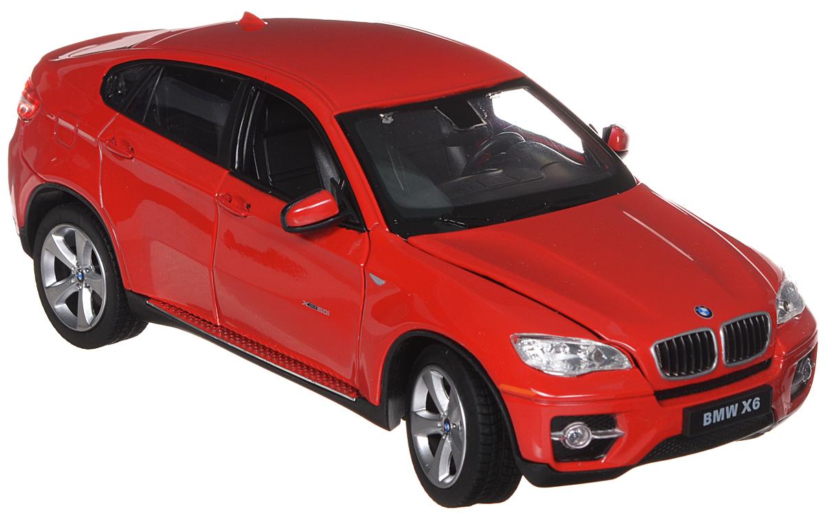 Rastar Модель автомобиля BMW X6 цвет красный41500Замечательная яркая машинка BMW X6, с открывающимися дверьми, капотом и крутящимся рулем, привлечет внимание вашего ребенка и не позволит ему скучать, ведь так интересно и захватывающе покатать свою машину или устроить гонку с другом. Машинка является точной уменьшенной копией настоящего автомобиля. Модель выполнена из металла с использованием пластика и поставляется в фирменной картонной коробке с прозрачным пластиковым окошком. Ваш ребенок часами будет играть с машинкой, придумывая различные истории и устраивая соревнования. Порадуйте его таким замечательным подарком! Характеристики: Размер модели: 20 см х 7 см х 9,5 см. Материал: пластик, металл. Размер упаковки: 24 см х 11 см х 12,5 см.