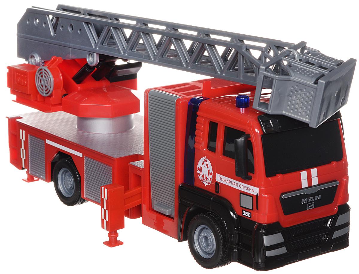 ТехноПарк Пожарная машина инерционная цвет красный серый13111Машинка ТехноПарк Пожарная машина, выполненная из безопасного пластика в виде пожарной машины, станет любимой игрушкой вашего малыша. У машины поднимается и раздвигается лестница, выдвигаются опоры и вращается подъемный механизм. При нажатии кнопки на корпусе машины начинает светиться мигалка под звуки, характерные для ситуации. Игрушка оснащена инерционным ходом. Машинку необходимо отвести назад, затем отпустить - и она быстро поедет вперед. Прорезиненные колеса обеспечивают надежное сцепление с любой поверхностью пола. Ваш ребенок будет часами играть с этой машинкой, придумывая различные истории. Порадуйте его таким замечательным подарком! Машинка работает от батареек (товар комплектуется демонстрационными).