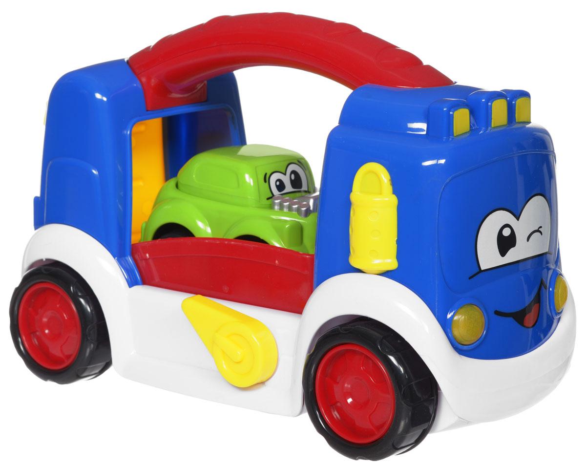Пламенный мотор Автовоз87526Игрушка Автовоз со световыми и звуковыми эффектами обязательно понравится вашему малышу и не позволит ему скучать. Она выполнена из прочного безопасного пластика ярких цветов. В комплект с автовозом входит забавная инерционная машинка с нарисованными глазками. Задняя стенка автовоза опускается и получается трап для машинки. При движении машинки вверх-вниз по трапу, звучит веселая мелодия, и мигают огоньки. Такой же эффект будет и при нажатии специального рычага на кузове автовоза. Кузов машины вверху изготовлен в виде удобной ручки. Малыш сможет не только катать машину, но и переносить ее с места на место. Ваш ребенок сможет погрузить машинку в автовоз и отправиться в путь. Игрушка Автовоз поможет малышу разнообразить досуг, развить цветовое и звуковое восприятия, мелкую моторику рук, координацию движений, внимание, память и логическое мышление. Игрушка работает от 2 батареек ААА (в комплект не входят).