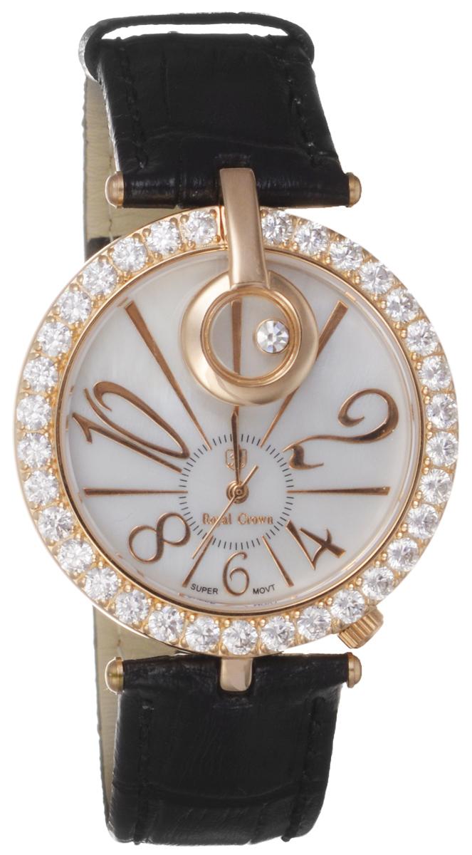Часы женские наручные Royal Crown, цвет: золотой, черный. 3850-RSG-13850-RSG-1Элегантные женские часы Royal Crown изготовлены из нержавеющей стали, натуральной кожи и минерального стекла. Корпус изделия инкрустирован чешскими цирконами, циферблат дополнен перламутром. Корпус часов оснащен кварцевым механизмом, который имеет степень влагозащиты равную 3 Bar, а также устойчивым к царапинам минеральным стеклом. Ремешок оформлен декоративным тиснением под рептилию, дополнен классической пряжкой, которая позволит с легкостью снимать и надевать часы. Часы поставляются в фирменной упаковке. Часы Royal Crown подчеркнут изящность женской руки и отменное чувство стиля у их обладательницы.