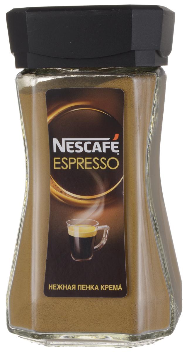 Nescafe Espresso кофе растворимый, 100 г12277945Nescafe Espresso создан для истинных ценителей настоящего итальянского эспрессо. 100% арабика с горных склонов Латинской Америки, Азии и Африки, а также глубокая итальянская обжарка придает кофе интенсивный вкус с тонкой фруктовой ноткой. Нежная золотистая пенка крема стойко сохраняет вкус и аромат Nescafe Espresso.
