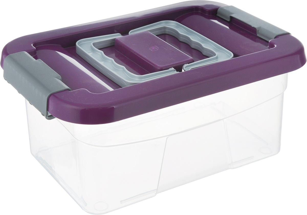 Контейнер хозяйственный Gensini, цвет: прозрачный, фиолетовый, 5 л2164Хозяйственный контейнер Gensini, выполненный из пластика, предназначен для надежного хранения вещей. Крышка контейнера закрывается по бокам на две защелки, которые предотвращают случайное открывание. Также на крышке имеются две складные ручки для удобной переноски. Размер: 29 х 19,5 х 13,5 см.