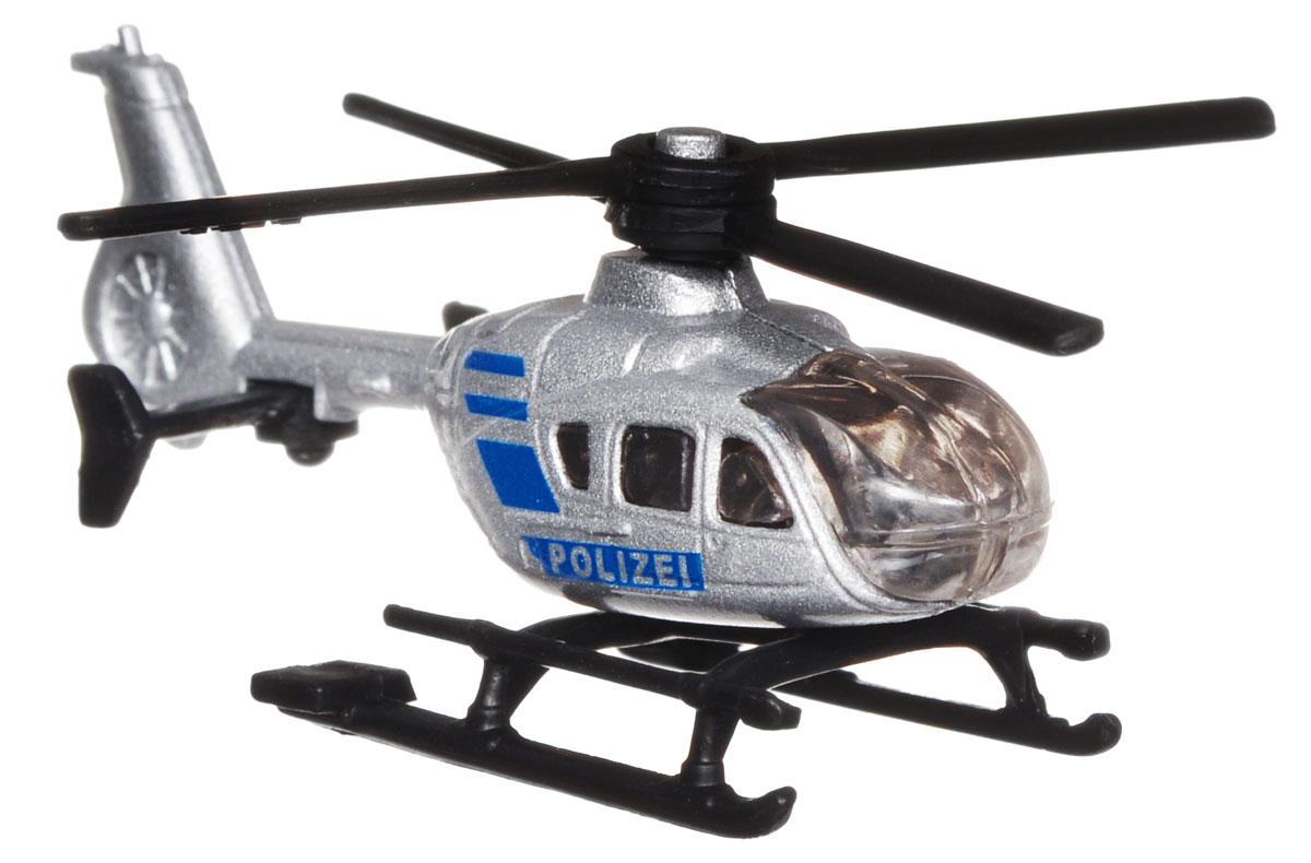 Siku Полицейский вертолет цвет серебристый синий0807Полицейский вертолет Siku выполнен в виде копии настоящей техники. Такая модель понравится не только ребенку, но и взрослому и приятно удивит высочайшим качеством исполнения. Корпус вертолета выполнен из металла, пластиковые лопасти вращаются. Модель отличается великолепным качеством исполнения и детальной проработкой, она станет отличной игрушкой для ребенка, интересующегося техникой.