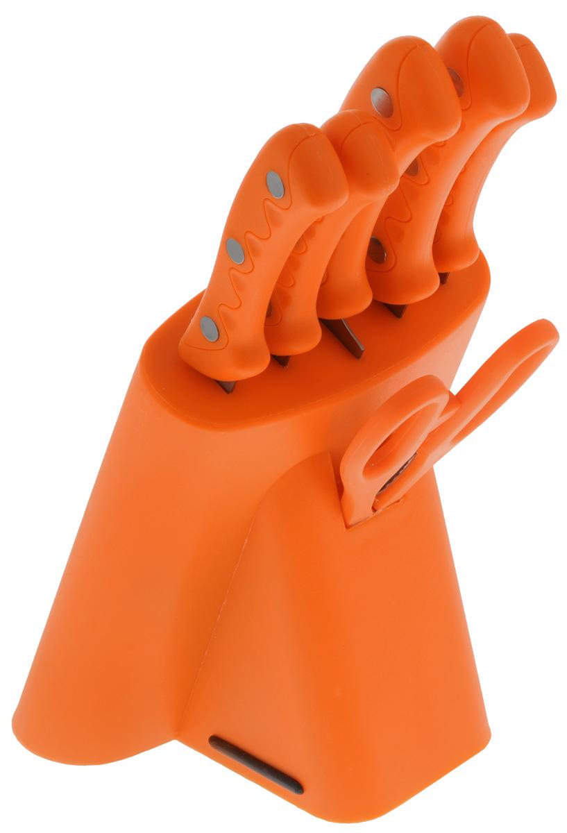 Набор ножей Mayer & Boch, цвет: оранжевый, 7 предметов. 42574257_оранжевыйНабор Mayer & Boch состоит из ножа для резки хлеба, универсального и поварского ножей, ножа для выемки костей, ножа для очистки и ножниц. Ножи изготовлены из высококачественной нержавеющей стали и идеально подходят для ежедневной резки фруктов, овощей и мяса. А ножницы прекрасно подойдут для быстрой нарезки зелени. Рукоятка ножей и ножниц выполнена из высококачественного пластика, а благодаря специальному дизайну, вам обеспечен комфортный и легко контролируемый захват. Рукоятка не скользит в руках и делает резку удобной и безопасной. В комплекте пластиковая подставка для хранения ножей со специальной выемкой для хранения ножниц. Общая длина ножа для резки хлеба: 31,5 см. Длина лезвия ножа для резки хлеба: 20 см. Общая длина ножа универсального: 23 см. Длина лезвия ножа универсального: 12,7 см. Общая длина ножа поварского: 32 см. Длина лезвия ножа поварского: 20 см. Общая длина ножа для выемки костей: 24,5 см. ...