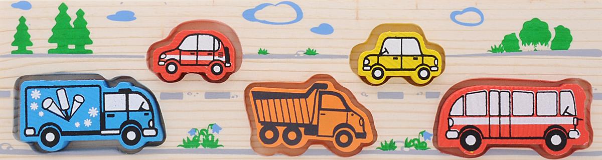 Томик Доска-вкладыш Транспорт362Доска-вкладыш Томик Транспорт- это деревянная основа, в которой вырезано несколько углублений. В углубления вставляются фигурки-вкладыши, точно подходящие по форме и размеру. Задача ребенка - найти для каждой фигурки свое место. Малыш довольно быстро способен это освоить. И, чтобы игра не наскучила, можно усложнить правила, например, собирать от большего к меньшему, или выбирать детали определенных цветов. Вкладыши прекрасно развивают логическое мышление, мелкую моторику, память, учат различать цвета, формы и размеры фигурок.