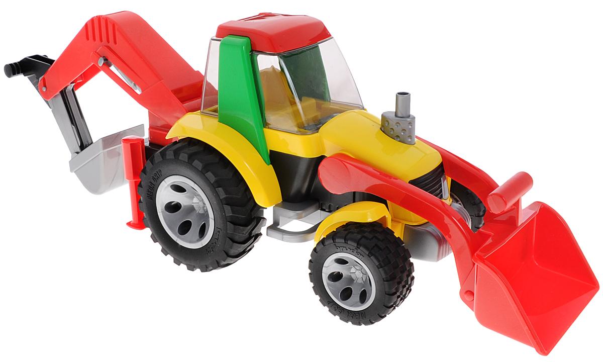 Bruder Экскаватор-погрузчик Roadmax20-105Яркий экскаватор-погрузчик Roadmax обязательно понравится вашему малышу и займет его внимание надолго. Экскаватор оснащен двумя опускающимися и поднимающимися ковшами для выгрузки песка или других предметов, открывающейся кабиной, большими прорезиненными колесами и двумя опорами, предназначенными для более устойчивой работы на месте. Ваш маленький строитель часами будет играть с таким экскаватором-погрузчиком, придумывая различные истории. Порадуйте его таким замечательным подарком!
