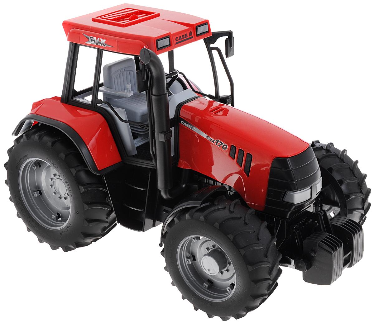 Bruder Трактор Case IH CVX 17002-090Трактор Bruder Case IH CVX 170 сделает игры вашего ребенка интересными и увлекательными. Большое количество деталей и функций трактора позволяют им не только управлять, но и дополнять его различными запчастями, которые можно приобретать отдельно. Трактор выполнен из ударопрочного пластика, колеса модели прорезинены, открытая кабина без стекла. Внутри кабины находятся руль, управляющий передними колесами, сидение и рычаги. На крыше сверху есть люк, который можно открывать. Капот трактора открывается, внутри капота расположен декоративный двигатель трактора. Трактор Bruder Case IH CVX 170 помогает расширить мировоззрение и кругозор ребенка. Игрушка научит мальчика сельскохозяйственным работам и привяжет его интерес к агропромышленной технике.