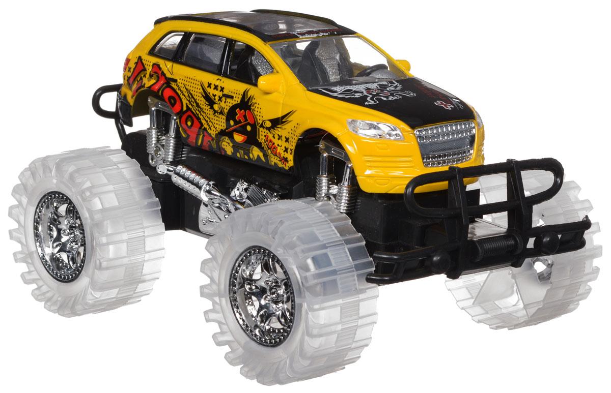 Пламенный мотор Машинка инерционная цвет желтый87479Игрушечный автомобиль Пламенный мотор с инерционным механизмом обязательно понравится вашему малышу. Он привлечет внимание вашего ребенка и надолго останется его любимой игрушкой. Машинка выполнена из пластмассы с элементами металла. Благодаря инерционному механизму, игрушка может двигаться самостоятельно, стоит только немного подтолкнуть машинку вперед или назад, а затем отпустить, и она поедет сама. При включении игрушки начнет звучать шум мотора, клаксон и музыка. Колеса подсвечиваются разноцветными огоньками. Игрушка развивает концентрацию внимания, координацию движений, мелкую моторику рук, цветовое восприятие и воображение. Малыш будет в восторге от такого подарка! Для работы игрушки необходимы 3 батарейки типа LR44 (товар комплектуется демонстрационными).