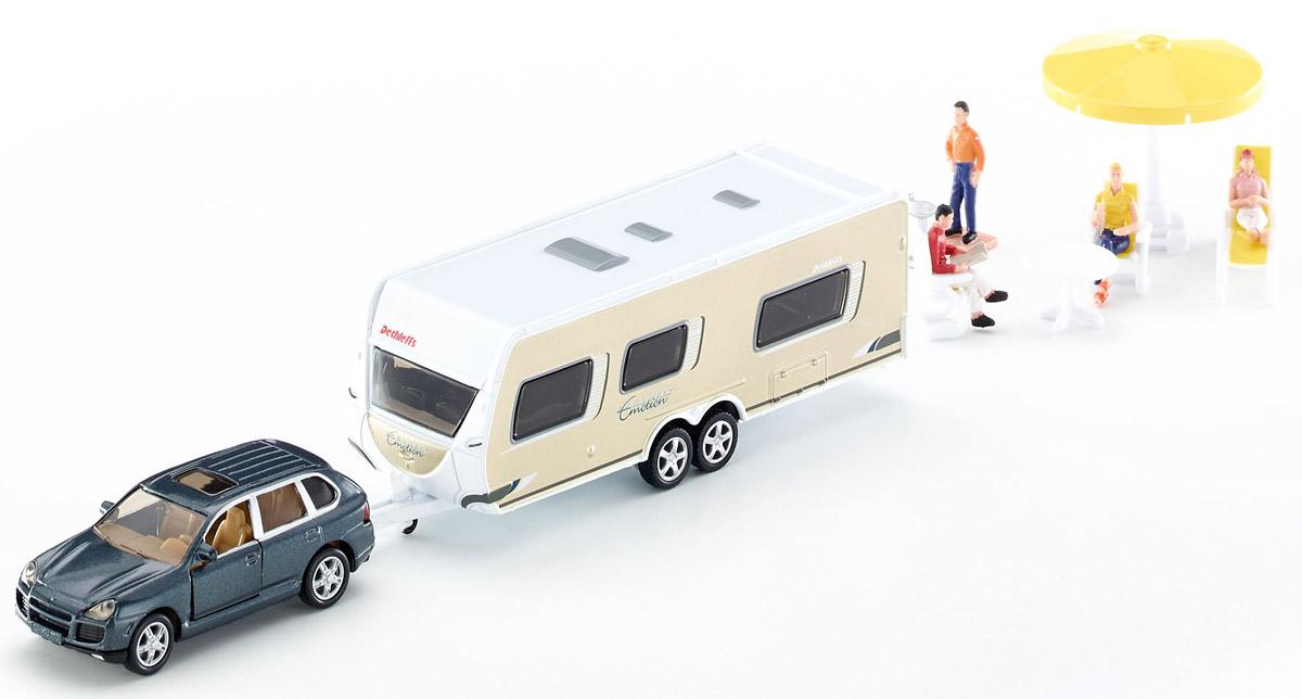 Siku Машина с домом на колесах Porsche Cayenne Turbo2542Игрушечная модель автомобиль с прицепом дом на колёсах. Корпус автомобиля и фургона выполнены из металла, передние двери машины открываются, стёкла из прозрачной тонированной пластмассы, колёса выполнены из резины и вращаются, можно катать. Дверь в фургоне открывается, крыша фургона снимается, в комплекте фигурки людей и аксессуары. Фургон отцепляется от машины.