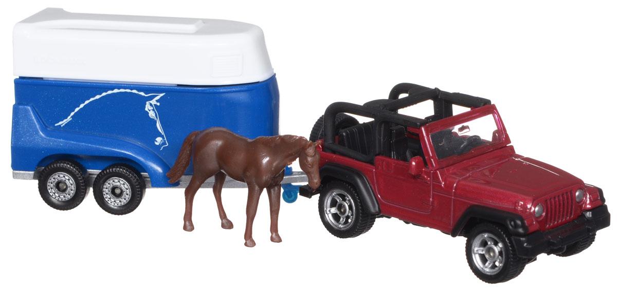 Siku Внедорожник Jeep Wrangler с прицепом для перевозки лошадей1651Внедорожник Jeep Wrangler от компании Siku выполнен в виде копии настоящего джипа. Такая модель понравится не только ребенку, но и взрослому и приятно удивит высочайшим качеством исполнения. Корпус внедорожника и прицепа выполнен из металла, окна машины - из прозрачного пластика. Прицеп имеет снимающийся верх и откидывающуюся заднюю дверь. В комплекте имеется пластиковая фигурка лошадки, которая свободно помещается в прицепе. Такая игрушка разнообразит игры ребенка с машинками. Высокая степень детализации и великолепное исполнение, сделают эту игрушку замечательным подарком.