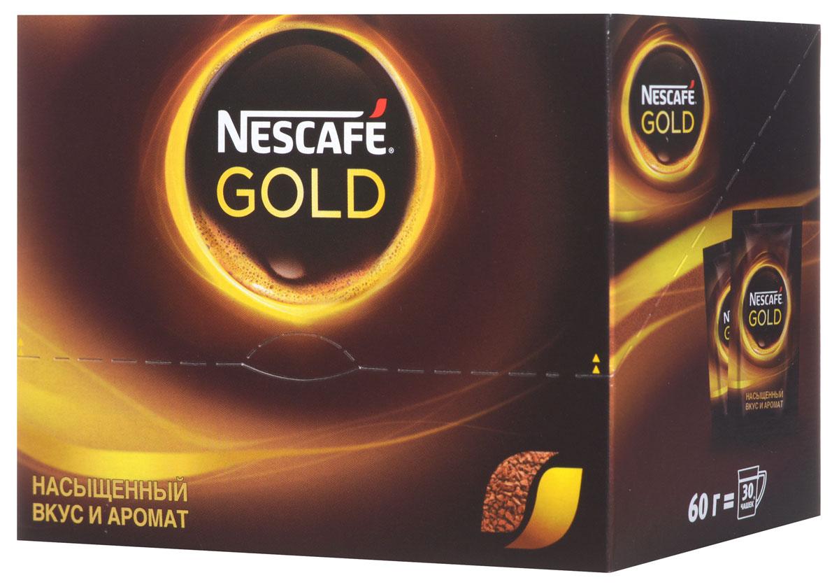 Nescafe Gold 100% кофе растворимый сублимированный, 30 шт12138020Почувствуйте истинное удовольствие с кофе Nescafe Gold. Ведь Nescafe Gold создан из обжаренных кофейных зерен нескольких сортов, чтобы вы могли в полной мере ощутить его неповторимый аромат и насыщенный вкус. Nescafe Gold - кофе, который дарит удовольствие.