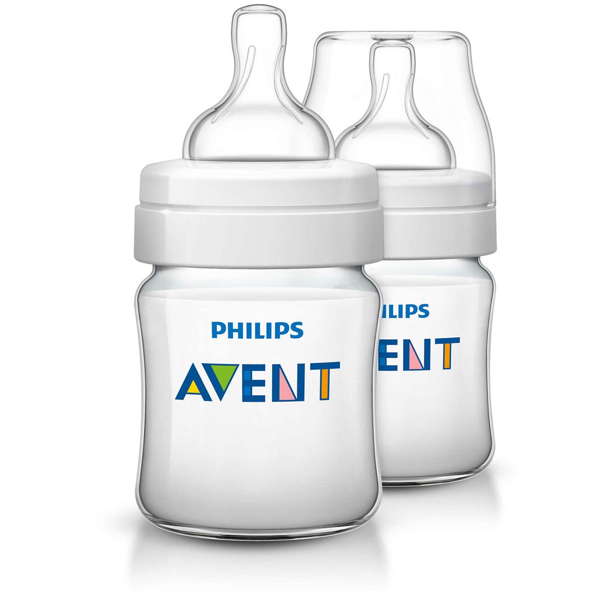 Philips Avent Бутылочка 125 мл, 2 шт. Соска с потоком для новорожденного SCF560/27