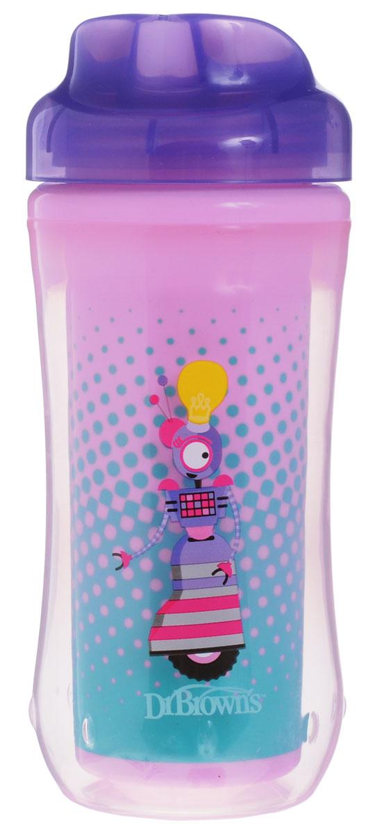 Dr.Browns Чашка-термос 300 мл без носика 12+ месяцев Фиолетовый РоботTC01013Поильник-термочашка Dr.Browns специально разработан для малышей от 1 года. Выполнен из безопасного материала (не содержит бисфенол А). Корпус поильника с изолирующими стенками позволяет напиткам долго сохранять свою температуру и свежесть. Крышка термо-поильника плотно и герметично закручивается, а благодаря цельному клапану, исключает проливание жидкости, даже если малыш перевернет поильник. Внутренний стакан поильника оформлен красочным изображением. Можно мыть в верхней корзине посудомоечной машины.