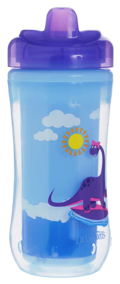 Чашка-термос 300 мл, с твердым носиком, 12+ месяцев - Фиолетовый Динозавр