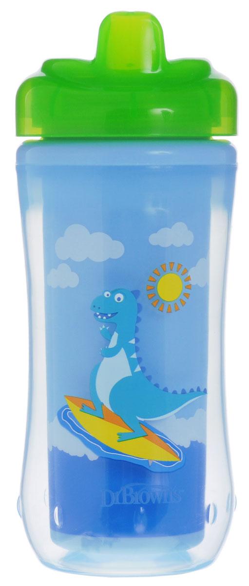 Dr.Browns Чашка-термос 300 мл с твердым носиком 12+ месяцев Зеленый ДинозаврTC01008Поильник-термочашка Dr.Browns, выполненный из безопасного материала (не содержит бисфенол А), специально разработан для малышей от 1 года. Корпус поильника с изолирующими стенками позволяет напиткам долго сохранять свою температуру и свежесть. Крышка термо-поильника плотно и герметично закручивается, а благодаря цельному клапану, исключает проливание жидкости, даже если малыш перевернет поильник. Внутренний стакан поильника красочно оформлен динозавром. Можно мыть в верхней корзине посудомоечной машины.