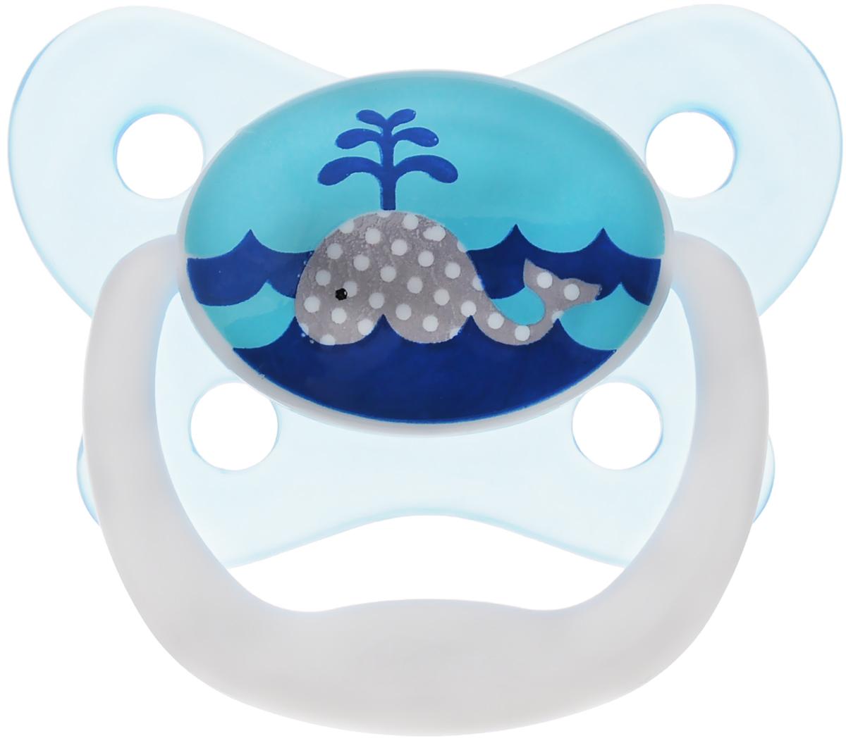 Dr.Browns Пустышка PreVent Бабочка Кит от 0 до 6 месяцевPV11404_голубой,китПустышка Dr.Browns PreVent Бабочка. Кит предназначена для новорожденных малышей от 0 до 6 месяцев. Пустышка удовлетворяет естественный сосательный рефлекс и тренирует мышцы губ, языка и челюсти, что играет важную роль в развитии речевых навыков и навыков приема пищи. Мягкая пустышка выполнена из прозрачного гигиеничного силикона, не имеющего вкуса и запаха. Имеет воздушный канал, который впускает воздух, благодаря чему пустышка остается мягкой и гибкой, что минимизирует риск неправильного расположения зубов. Снабжена вентиляционной системой. Пустышка с защелкивающимся колпачком. Не содержит Бисфенол-А.