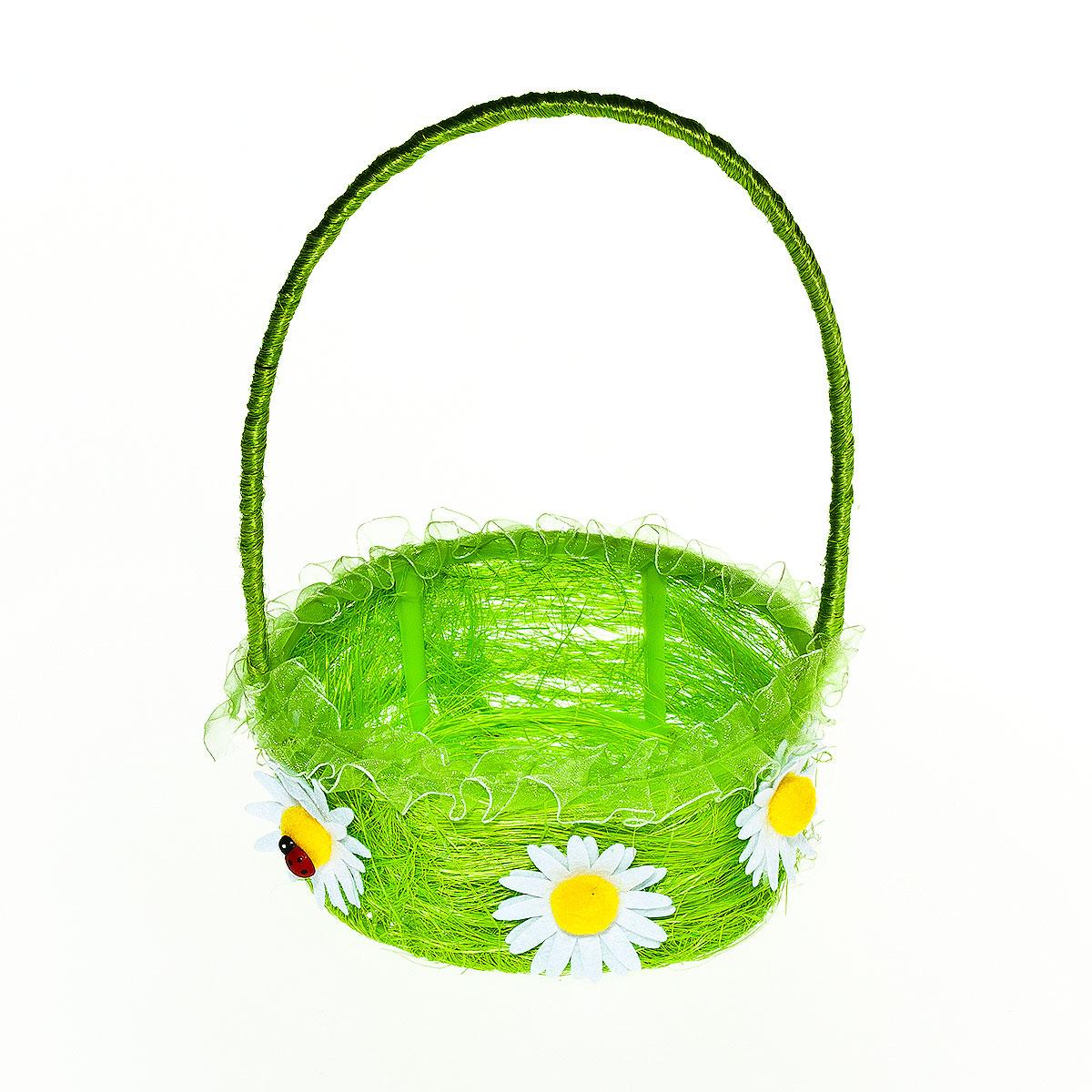 Корзина декоративная Home Queen Цветы, цвет: зеленый, 15,5 см х 14,5 см х 6,5 см64337_ зеленыйДекоративная корзина Home Queen Цветы предназначена для хранения различных мелочей и аксессуаров. Изделие изготовлено из сизаля и пластика. Корзина оснащена удобной ручкой и декорирована аппликацией в виде цветов. Такая корзина станет оригинальным и необычным подарком или украшением интерьера. Размер корзины: 15,5 см х 14,5 см х 6,5 см. Диаметр дна: 13 см. Высота ручки: 14 см.