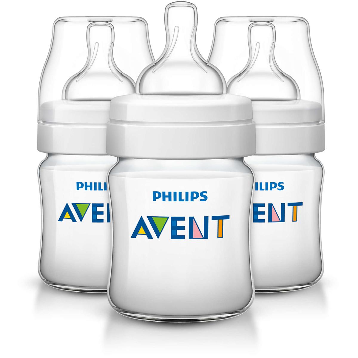 Philips Avent Бутылочка 125 мл, 3 шт. Соска с потоком для новорожденного SCF560/37