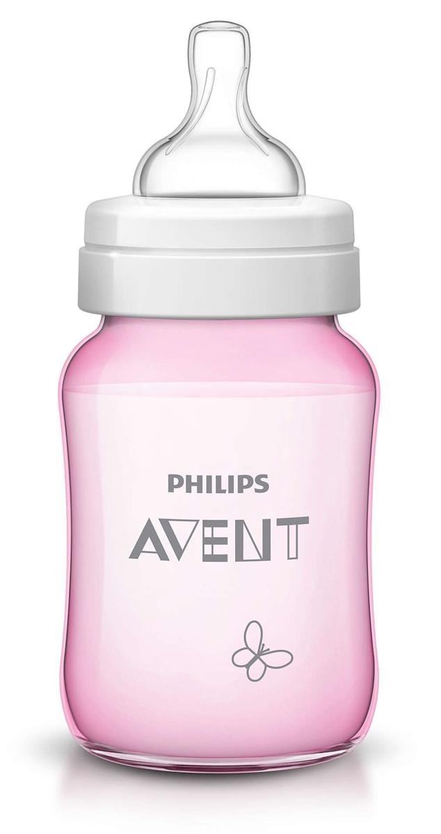 Philips Avent Бутылочка розовая c рисунком (Бабочка), Classic+, 260 мл, 1шт SCF573/13