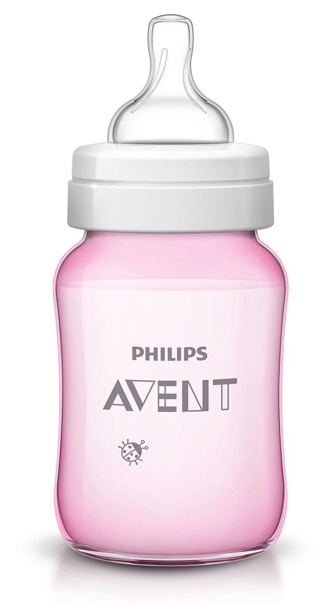 Philips Avent Бутылочка розовая c рисунком (Божья коровка), Classic+, 260 мл, 1шт SCF573/11