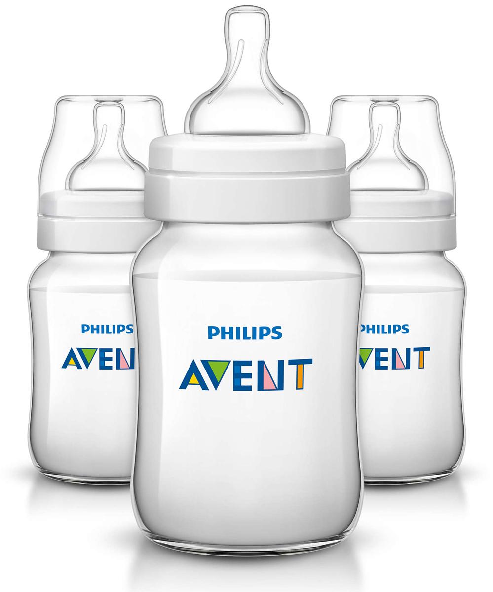 Philips Avent Бутылочка 260 мл, 3 шт. Соска с медленным потоком для детей от 1 месяца SCF563/37