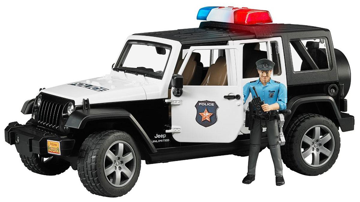 Bruder Внедорожник Jeep Wrangler Unlimited Rubicon Полиция02-526Полицейский внедорожник Bruder Jeep Wrangler Unlimited Rubicon, выполненный из прочного безопасного материала, отлично подойдет ребенку для различных игр. В комплект входит фигурка полицейского. Крышу внедорожника можно снять - получается летний вариант с задними дугами. Дверь водителя и пассажиров открываются и снимаются. Заднее сиденье снимается, и внедорожник превращается в удобный автомобиль для перевозки грузов. Капот поднимается и крюком фиксируется в верхнем положении. К задней двери внедорожника прикреплено запасное колесо. Передние колёса поворачиваются рулём. Передняя и задняя оси оснащены амортизаторами. Машинка обладает световыми и звуковыми эффектами. Порадуйте своего ребенка таким замечательным подарком! Рекомендуется докупить 3 батарейки напряжением 1,5V типа LR44 (товар комплектуется демонстрационными).