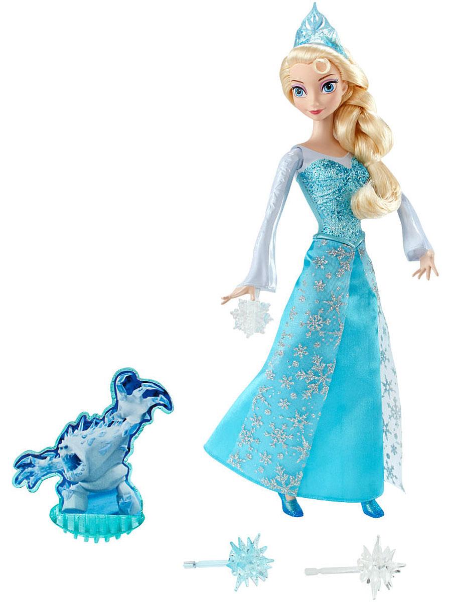 Disney Frozen Кукла Эльза Сила льдаCGH15С куклой Disney Frozen Эльза. Сила льда вы сможете перенестись в мультфильм Холодное сердце и помочь одной из принцесс побороть страшного монстра с безумно милым прозвищем - Зефирка! Кукла Эльза одета в изящное платье, корсет которого изготовлен из пластика с блестящим покрытием, а подол сшит из ярко-голубых тканей и легкой летящей материи с прорисованными на ней снежинками. Светлые волосы Эльзы заплетены в тугую косу, однако вы сможете создать свою собственную прическу для этой очаровательной куклы, ведь ее волосы - прошивные. Если Эльза поднимет левую руку вверх, то правая поднимется автоматически - это фирменная поза принцессы для сражения со снежным монстром. Кукла может атаковать Зефирку снежными снарядами, которые собьют монстра с ног, если выстрел будет произведен метко. Тренируйте меткость вместе с диснеевской принцессой и побеждайте снежного монстра снова и снова! Рекомендуется докупить 3 батарейки напряжением типа AG13 (товар комплектуется...