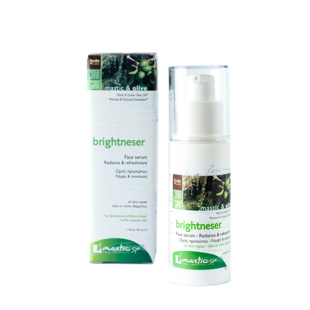Mastic Spa Сыворотка Brightneser; 30 млMS-1-01-19Для всех типов кожи. Омолаживающая сыворотка с биологическими эфирными маслами обладает подтягивающим эффектом, благодаря богатому составу натуральных ингредиентов. Сочетание мастики и оливкового масла даёт коже необходимое питание для восстановления потерянного блеска в течение дня. Гиацинт смягчает и увлажняет кожу, а растительный экстракт Liftessense, богатый полисахаридами, эффективно предотвращает процесс старения. Получив глубокое питание, кожа начинает сиять изнутри.