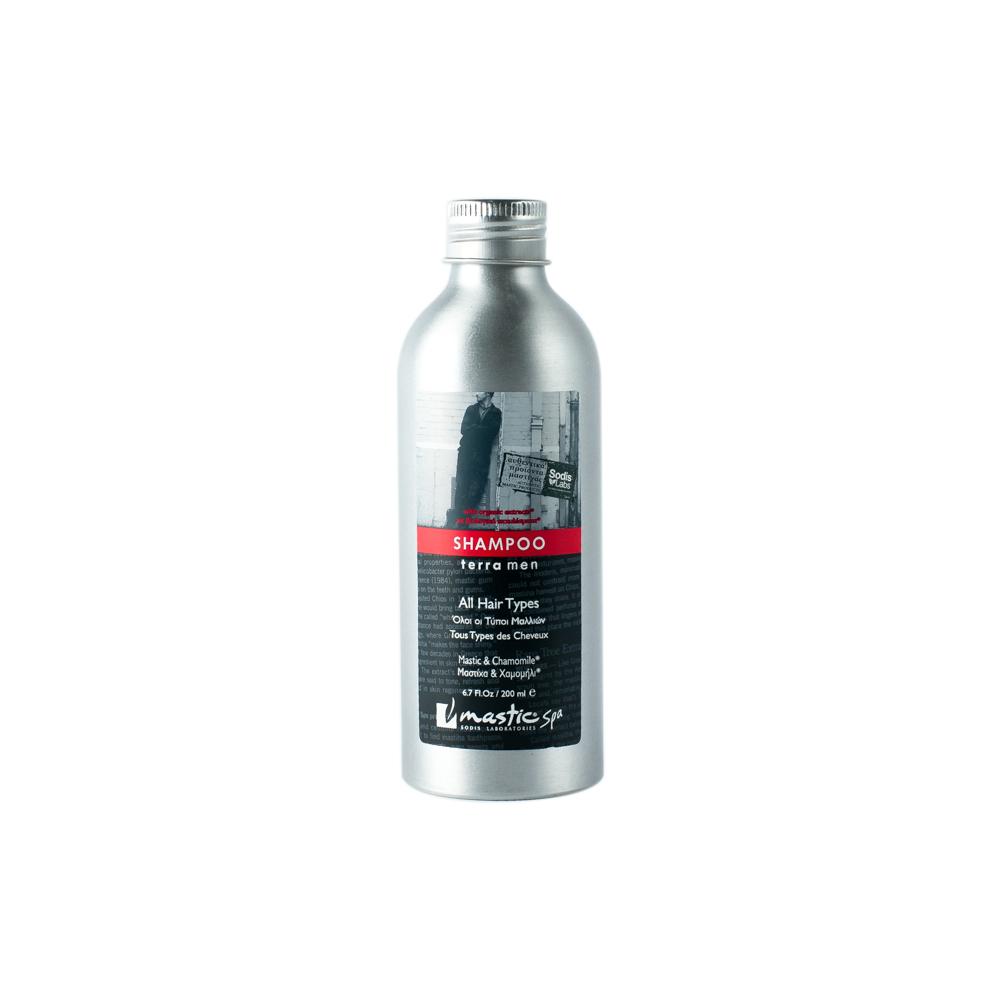 Mastic Spa Шампунь для мужчин Shampoo Terramen; 200 млMS-3-07-05Это натуральный легкий шампунь для всех типов волос, который активно питает и добавляет им блеска и объема. Антибактериальное действие мастики и протеинов пшеницы обеспечивает вашим волосам продолжительную защиту. Провитамин В5 увеличивает объем и в сочетании с мастикой и натуральными эфирными маслами придает волосам продолжительный и устойчивый блеск. Экстракты ромашки и зеленого чая заряжают волосы энергией. Мягкие моющие субстанции растительного происхождения отлично очищают волосы и кожу головы, не высушивая их.