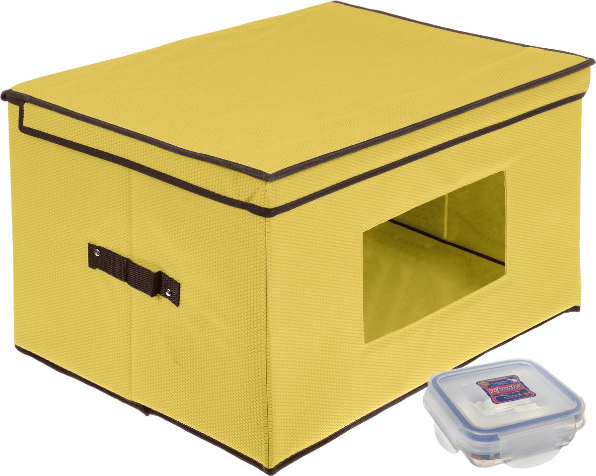 Кофр для хранения El Casa Соты, складной, с прозрачной вставкой, цвет: желтый, 50 x 40 x 30 см + ПОДАРОК: Контейнер пищевой Xeonic, 110 мл370139+2Вместительный кофр El Casa Соты, изготовленный из дышащего нетканого волокна, предназначен для хранения вещей. Кофр снабжен прозрачной вставкой из ПВХ, что позволяет легко просматривать содержимое. Для удобства в обращении по бокам имеются ручки. Специальный нетканый материал позволяет воздуху проникать внутрь, при этом надежно защищая вещи от грязи, пыли и насекомых. Оригинальный дизайн сделает вашу гардеробную красивой и невероятно стильной. Размер кофра (в собранном виде): 50 см х 40 см х 25 см. В подарок к кофру прилагается герметичный контейнер для хранения продуктов Xeonic, изготовленный из высококачественного полипропилена. Изделие термоустойчиво, может быть использовано в микроволновой печи и в морозильной камере, устойчиво к воздействию масел и жиров, не впитывают запах. Контейнер удобен в использовании, долговечен, легко открывается и закрывается. Герметичность обеспечивается четырьмя защелками и силиконовой прослойкой на крышке. Контейнер...