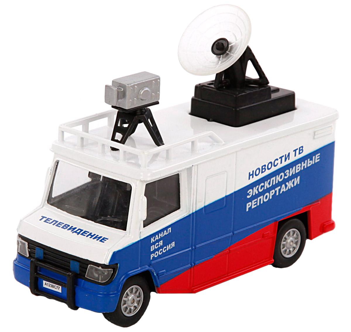 Пламенный мотор Машина Телевидение Новости Эксклюзивные репортажи870063По дорогам России - это серия коллекционных металлических моделей ТМ Пламенный мотор. Машинка Телевидение - это уменьшенная копия настоящей машины, которая выезжает на оперативные съемки и репортажи. На ее крыше расположены камера и антенна. Масштаб 1:32. Игрушка оснащена инерционным механизмом, двери у машинки открываются, при этом зажигается свет фар и звук двигателя.