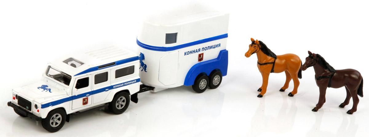 Пламенный мотор Машина Land Rover Конная полиция870097По дорогам России - это серия коллекционных металлических моделей ТМ Пламенный мотор. Land Rover. Конная полиция представляет собой уменьшенную копию настоящей машины, выполненную в масштабе 1:32. Игрушка оснащена инерционным механизмом, двери у машинки открываются.