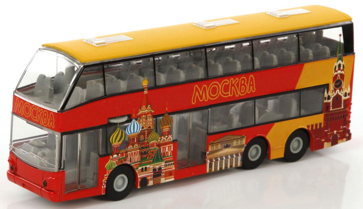 Пламенный мотор Автобус двухэтажный Экскурсии по Москве870160В Москве можно увидеть столько всего интересного! Двухэтажный экскурсионный автобус отправляется в увлекательное путешествие по столице России. Игрушка выполнена из металла, оснащена инерционным механизмом. У автобуса открываются двери, включается свет и звук.