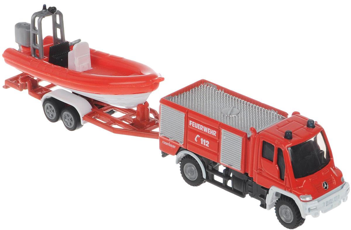 Siku Пожарная машина Unimog с катером1636Коллекционная модель Siku Пожарная машина с катером выполнена в виде уменьшенной копии настоящей пожарной машины. Такая модель понравится не только ребенку, но и взрослому коллекционеру, и приятно удивит вас высочайшим качеством исполнения. Корпус и кабина выполнены из металла, стекла кабины - из прозрачного тонированного пластика. Катер стоит на специальном прицепе, который легко соединяется с машиной. Коллекционная модель станет не только интересной игрушкой для ребенка, но и займет достойное место в коллекции.