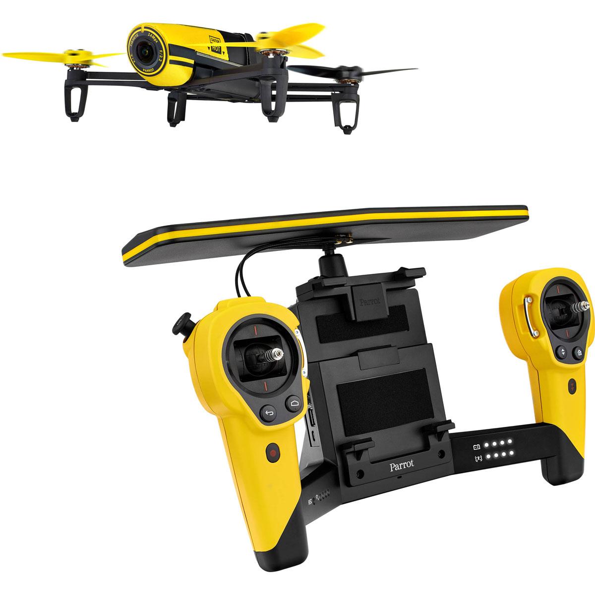 Parrot Квадрокоптер на радиоуправлении Bebop Drone + Skycontroller цвет желтыйPF725102Parrot Bebop Drone + Skycontroller - квадрокоптер с пультом дистанционного управления - полностью готовый набор для проведения видеосъёмки с качеством Full HD и фотосъемки с разрешением до 4096x3072 пикселей. Комплект позволяет осуществлять управление полётом на расстоянии до двух километров, при этом максимальная скорость квадрокоптера составляет 47 км/ч. Революционный пульт дистанционного управления Parrot Skycontroller оснащён мощной двойной Wi-Fi антенной, высокоточными джойстиками управления, манипуляторами для навигации в меню FPV и цифрового управления камерой с углом обзора 180°, а также раздвижным креплением для установки планшета или смартфона. Благодаря наличию на пульте специальной кнопки домой можно возвращать квадрокоптер на точку взлета. Устройство укомплектовано складным колпаком для защиты экрана от бликов в солнечную погоду. Parrot Bebop Drone - многофункциональный квадрокоптер, имеющий прочный каркас из ABS-пластика, весящий ...