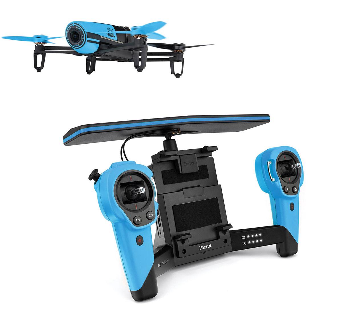 Parrot Квадрокоптер на радиоуправлении Bebop Drone + Skycontroller цвет голубой