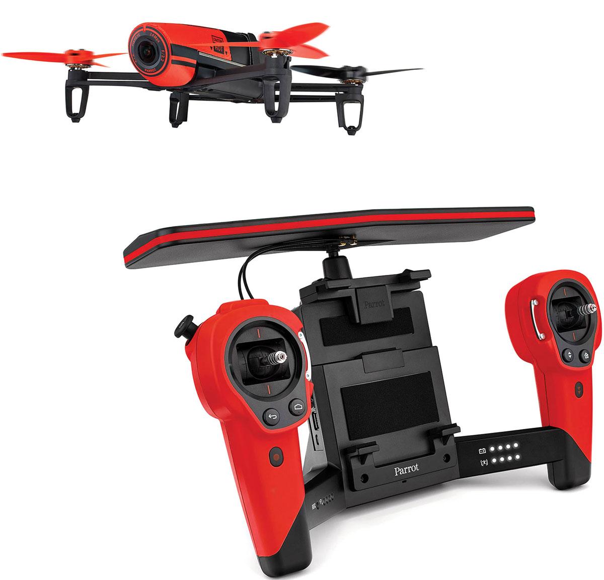 Parrot Квадрокоптер на радиоуправлении Bebop Drone + Skycontroller цвет красный
