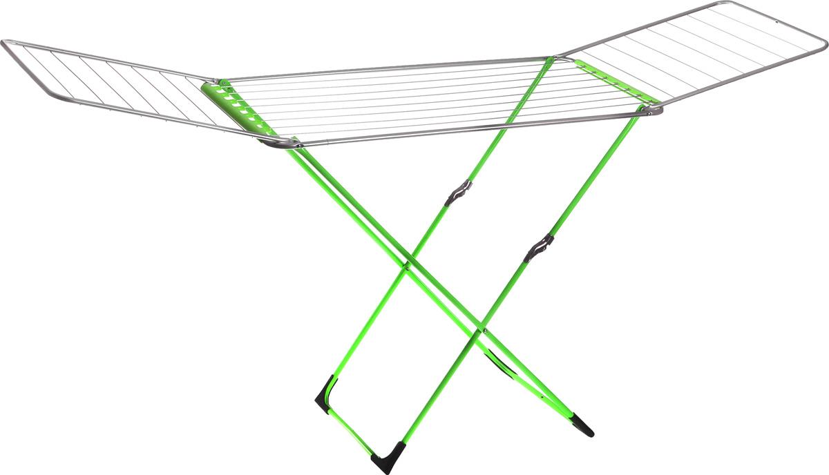 Сушилка для белья Metaltex Fuji Neon, напольная, цвет: зеленый40.77.08-316Напольная сушилка для белья Metaltex Fuji Neon, изготовленная из стали, проста и удобна в использовании. Идеально подходит для любых помещений. Сушилка оснащена стальными рейками. Также сушилка имеет распашные створки для более удобной сушки белья. Защитные пластиковые уголки на ножках предотвратят появление царапин на полу. Сушилка для белья легко складывается и в таком состоянии занимает мало места, потому вам легко будет убрать ее в любое удобное для вас место. Размер сушилки в разложенном виде: 106-220 х 55 х 60 см. Размер сушилки в сложенном виде: 106 х 55 х 6 см. Общая длина реек: 20 м.