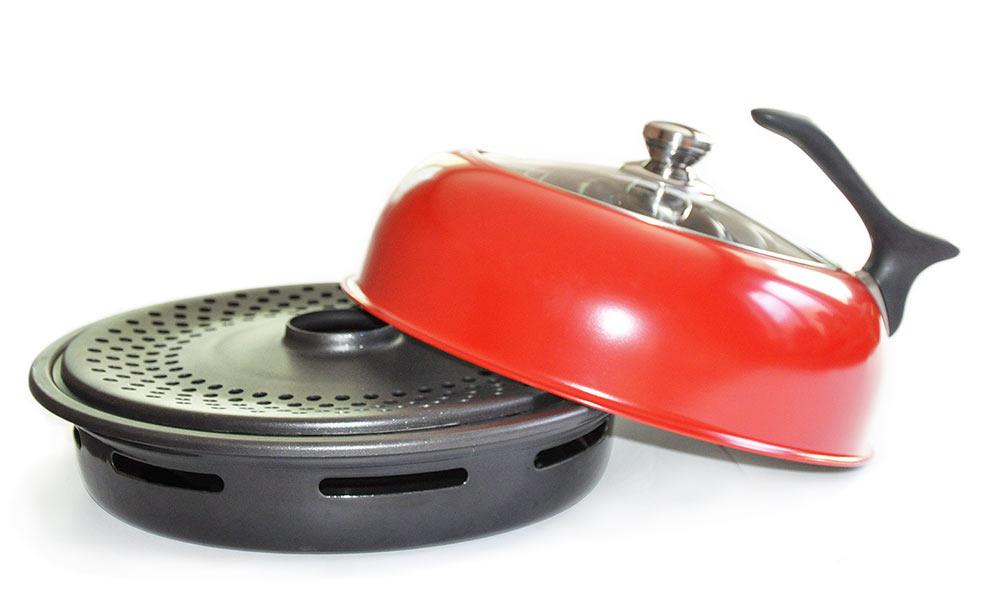 Сковорода Гриль-газ, с керамическим покрытием, со стеклянной крышкой. Диаметр 32 смD-512