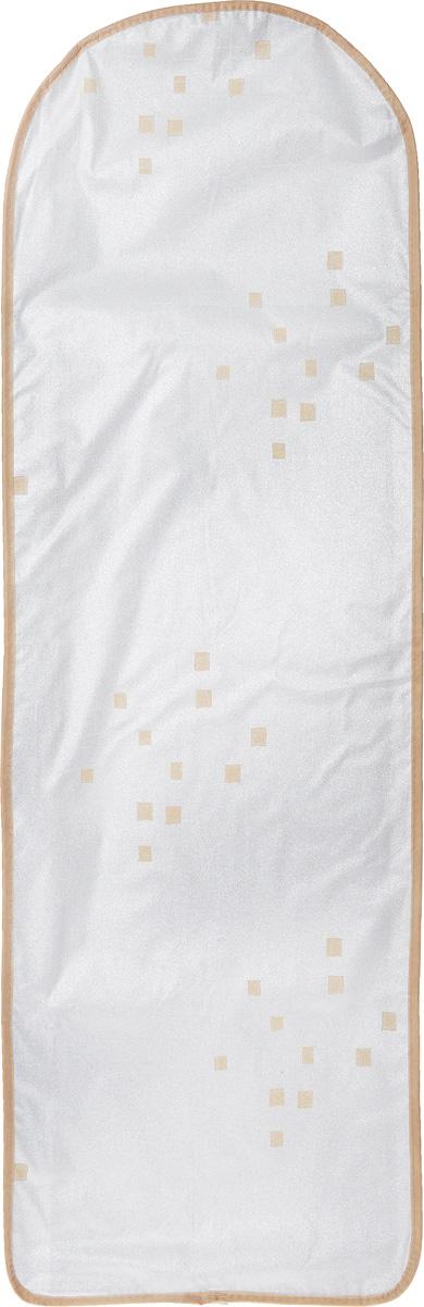 Чехол для гладильной доски Eva, цвет: серебристый, бежевый, 120 х 40 смЕ12_серебристый,бежевыйЧехол для гладильной доски Eva выполнен из хлопчатобумажной ткани с термостойким покрытием и подкладкой из поролона. Чехол предназначен для защиты или замены изношенного покрытия гладильной доски. Благодаря удобной системе фиксации легко крепится. Этот качественный чехол обеспечит вам легкое глажение. Размер чехла: 120 x 40 см. Максимальный размер доски: 112 x 32 см.