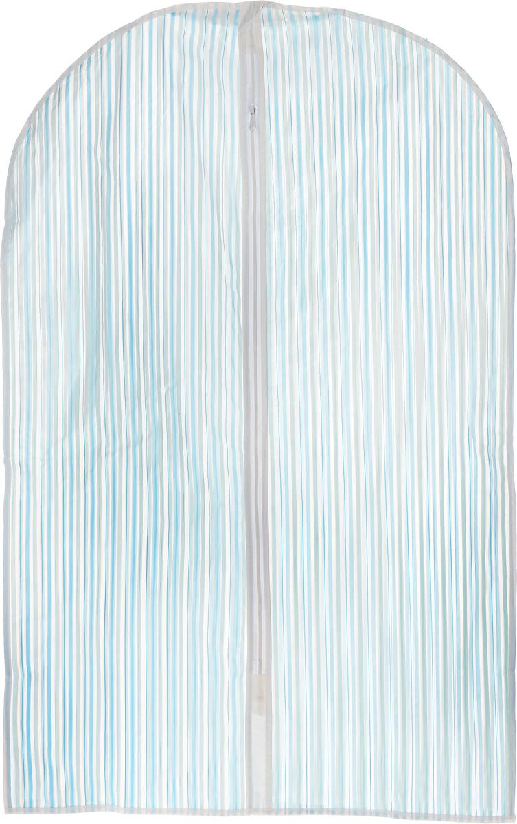 Чехол для одежды Eva Полоска, цвет: голубой, 60 х 92 смЕ-16201_голубые полосыЧехол для одежды Eva Полоска выполнен из материала PEVA. Чехол обеспечивает вашей одежде надежную защиту от влажности, повреждений и грязи при транспортировке, от запыления при хранении. Изделие обладает водоотталкивающими свойствами, а также позволяет воздуху свободно поступать внутрь вещей, обеспечивая их кондиционирование. Закрывается на молнию. Можно стирать при температуре до 40°C.