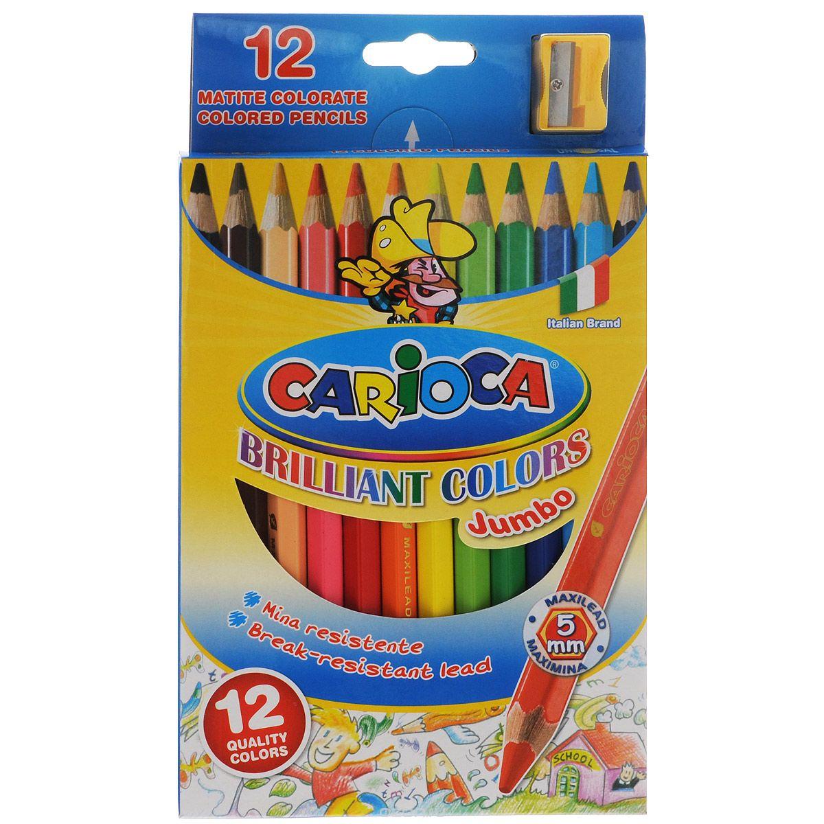 Набор цветных карандашей Carioca Jumbo с точилкой, 12 цветов41406/12Цветные карандаши Carioca Jumbo, непременно, понравятся вашему юному художнику. Набор включает в себя 12 ярких насыщенных цветных карандашей, которые идеально подходят для малышей. Карандаши выполнены в утолщенном деревянном корпусе и с толстым мягким грифелем. В набор также входит точилка. Порадуйте своего ребенка таким восхитительным подарком!