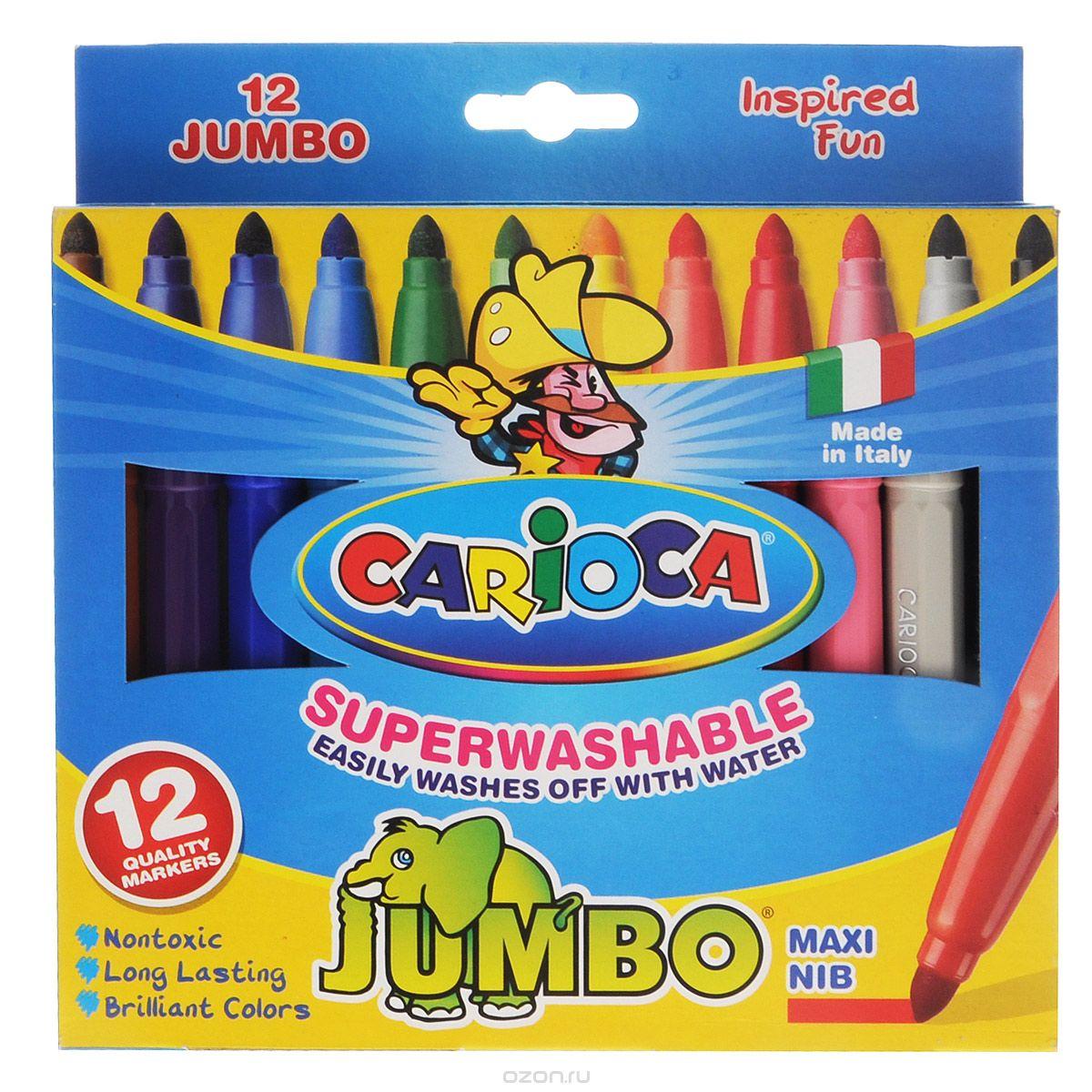 Набор фломастеров Carioca Jumbo, 12 цветов40569/12Фломастеры Carioca Jumbo, непременно, понравятся вашему юному художнику. Набор включает в себя 6 ярких цветных фломастеров в удобном утолщенном корпусе с чернилами на водной основе и безопасными вентилируемыми колпачками. Такие фломастеры идеально подходят для малышей. Порадуйте своего ребенка таким замечательным подарком! Характеристики: Длина фломастера: 14 см. Диаметр фломастера: 1,2 см. Диаметр наконечника: 0,4 см. Размер упаковки: 17,5 см х 15 см х 1,5 см.
