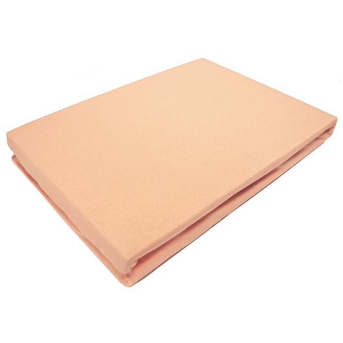 Простыня на резинке ЭГО, цвет: персиковый, 160 х 200 смЭ-ПР-02-30Трикотажная простыня ЭГО изготовлена из 100 % хлопка высокого качества. Натуральный, экологически чистый материал обеспечивает высокую гигиеничность изделия. Трикотаж имеет достаточно рыхлую структуру, образованную переплетением петель, что обеспечивает его растяжимость и эластичность. Наличие резинки позволяет легко зафиксировать простыню на матрасе. Она не сминается и не комкается во время сна. Трикотаж достаточно эластичен, поэтому изделия из него можно даже не гладить. Если простыня немного больше кровати, с помощью резинки ее можно подогнать под размер кровати, учитывая толщину матраса. Также ее можно использовать в качестве наматрасника. Резинка пришита по всему периметру простыни. Плотность 140 г/м2. Уход: машинная стирка 50°C, не отбеливать. Насыщенные цвета стирать отдельно.