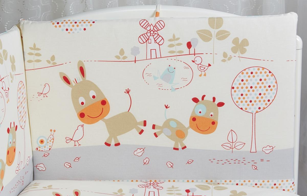 Rabby Baby Бортик для кровати Лето в деревне цвет серый