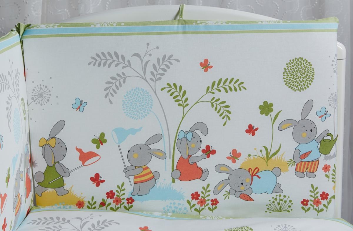 Rabby Baby Бортик для кровати На лужайке цвет зеленый115944/3Бортик 4 части , общий размер 44х360 см , все съемные чехлы (застежка молния), наполнитель холлкон, пл.500г/м6