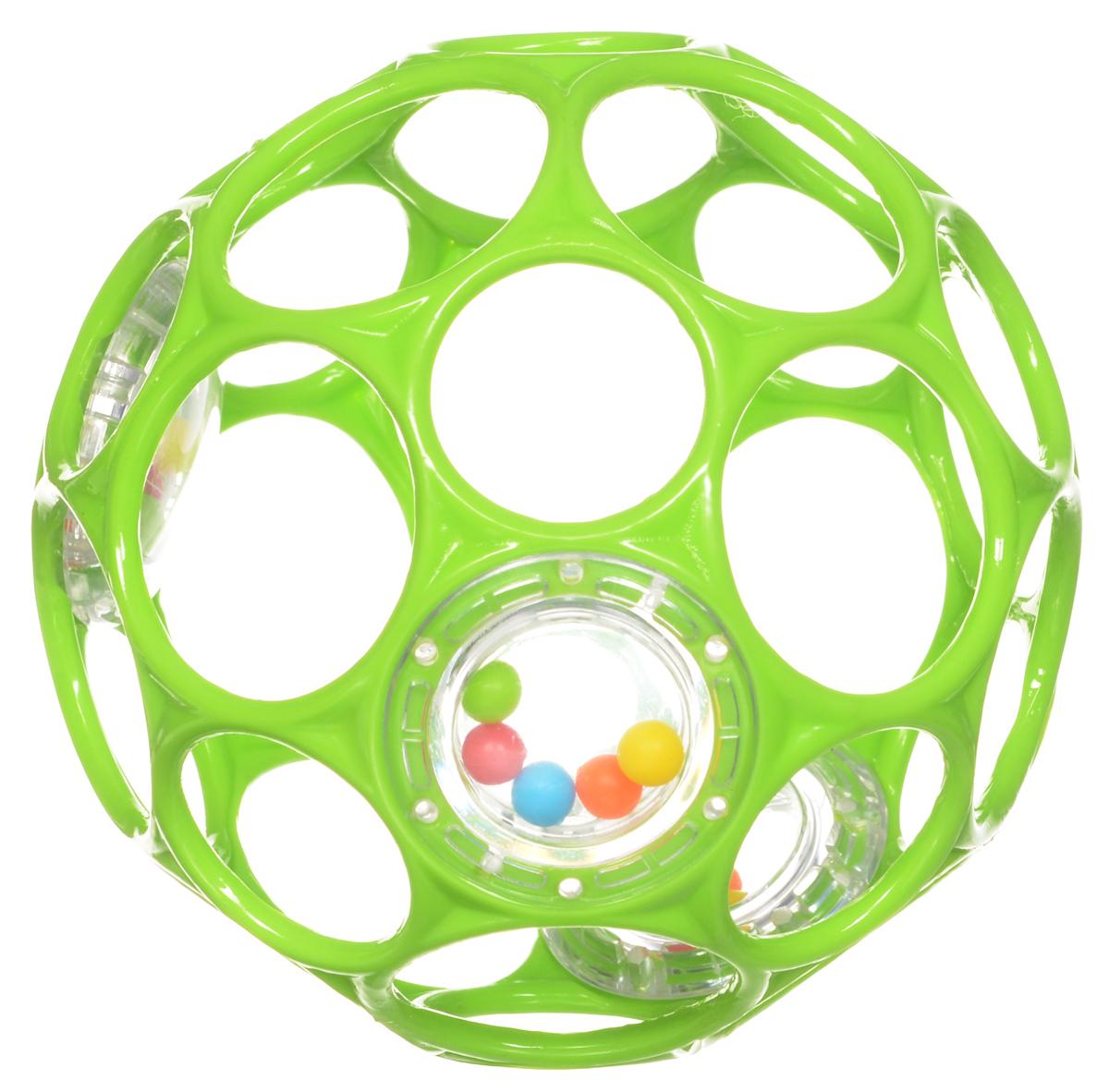 Oball Мячик Гремящий цвет салатовый81031_ салатовыйЯркий гремящий мячик издает забавные звуки, стоит малышу его потрясти. Ажурный и легкий мячик имеет много крупных дырочек, что позволяет малышу удобно держать игрушку. По периметру мячика находятся 3 прозрачных контейнера с разноцветными бусинками, которые при тряске издают негромкий звук. Мячик выполнен из гибкого пластика, приятный на ощупь, не имеет острых краев, полностью безопасен для крохи. Игрушка развивает мелкую моторику, зрение и слух малыша.